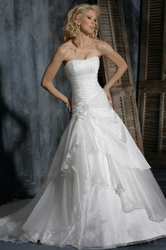 Shirred Fit-and-flared Organza Wedding Dress with Handmade Flower