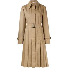MARNI Pleated Trench Coat ($1,675) ❤ liked on Polyvore featuring outerwear, coats, long sleeve coat, beige coat, pleated trench coat, trench coat and high collar coat
