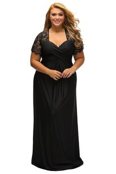 763af7220c77 Black Lace Yoke Ruched Twist High Waist Plus Size Gown Evening Dresses With  Sleeves, Bodycon