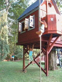 Boys piss treehouse window