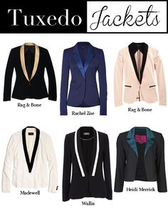 Tuxedo jackets. That blue one is too cute.