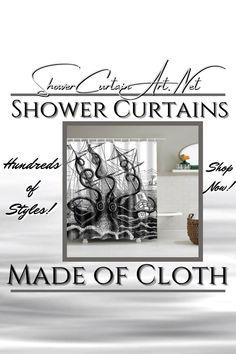 Drastically enhance your bathroom decor with a soft & stylish fabric shower curtain from Shower Curtain Art. Nautical Shower Curtains, Shower Curtain Art, Cool Shower Curtains, Man Cave Bathroom, Downstairs Bathroom, Master Bathroom, Shower Accessories, Small Bathroom Storage, Bathroom Fixtures