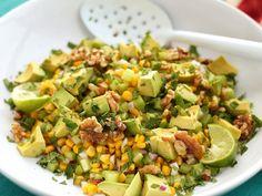 Avocado, corn and walnut salad. Recipe tried 25.09.13 to go with edamame falafels.