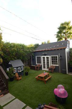 65 Creative House Exterior Backyard Playground Landscaping Ideas On A Budget Outdoor Kitchen Design, Patio Design, Garden Design, Landscape Design, Concrete Fire Pits, Large Backyard, Backyard Ideas, Wrought Iron Gates, Backyard Playground