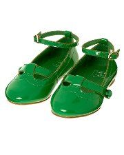 Kelly green patent flats with a cute buckle so little feet don't slip out