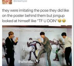 Jongup judging himself lol | B.A.P