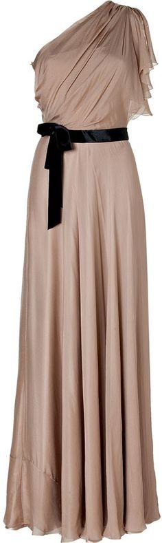 Jenny Packham Beige One Shoulder Silk Gown