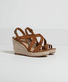 572cc734b942 Chaussures compensées lanières bord tresse - Voir Tout - CHAUSSURES