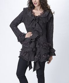 Look what I found on #zulily! Gray Wool-Blend Lace Ruffle Cardigan #zulilyfinds