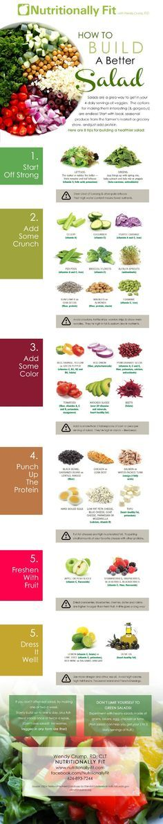 [INFOGRAPHIC] 8 Tips For Building a Better Salad How to build a better salad infographic #nutrition #healthyeating