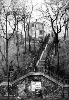 Escalier du Passage Piat depuis la Rue des Couronnes, Paris, 1959.