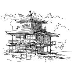 Asia Japan Temple Building Sketching Drawing Poster Clip Art Digital... ($2.36) ❤ liked on Polyvore featuring art