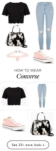 """Untitled #88"" by fashionfreakyforreal on Polyvore featuring Converse, Kate Spade, River Island and Ted Baker"