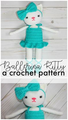 Ballerina Kitty Crochet Pattern - The Friendly Red Fox. The finished doll is 18 inches, comes with the pattern for the kitty, the dress, slippers, and headband. Includes a tutorial on how to attach the head without sewing!