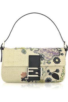 Fendi Baguette raffia shoulder bag