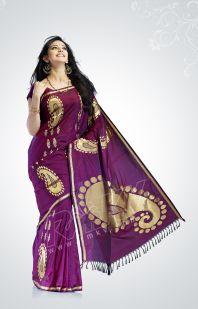 A purple violet wedding reception silk pattu saree from rmkv