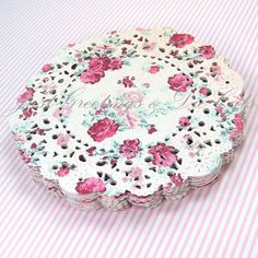 """4"""" Handmade Paper Doilies - Floral and Gingham - Set of 16. $6.20, via Etsy."""