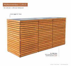 Hochwertige Verarbeitung und Beschläge aus Edelstahl = 3er Mülltonnenbox CUBUS aus FSC Hartholz - Oberfläche im Farbton Kastanie geölt.