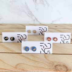 Concrete Mini Stud Earrings (4 colour choices) | Modern | Minimal | Gift| Unique | Concrete | Abstract #etsy #earrings #studearrings #cuteearrings How To Clean Earrings, Concrete Jewelry, Concrete Cement, Gold Leaf, Minimal, Unique, Place Card Holders, Colours, Shapes