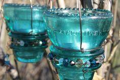 Hemingray 45 glass insulator hanging candle votive by woodysrelics Hanging Candles, Votive Candles, Glass Insulators, Flower Plates, Mason Jar Wine Glass, Solar Lights, Inspirational Gifts, Yard Art, Dollar Stores