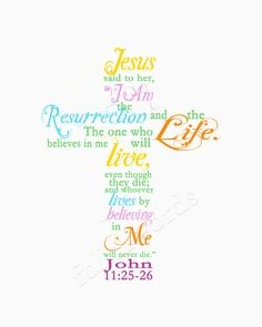 "Easter/Spring Scripture Verse John 11:25 - digital printable word art.  ""Jesus said to her, 'I am the resurrection and the life. The one who believes in me will live, even though they die; and whoever lives by believing in me will never die.'"""