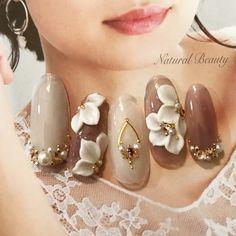 3d Acrylic Nails, 3d Nail Art, 3d Nails, Grey Nail Designs, Nail Art Designs Videos, Japan Nail, Korean Nail Art, Bridal Nail Art, Flower Nail Art