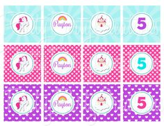 RAINBOW UNICORN cupcake toppers  You Print by PrettyPartyCreations, $5.50