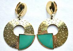 Teal Chunky Hoop Dangle 80s Earrings Clip On Boho Mod VTG Costume Jewelry #Unbranded #Hoop