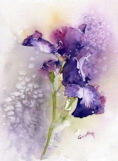 Watercolor purple iris