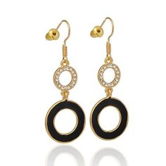 Very trendy gold plated black enamel and sparkly crystals dangle earrings with shepherd hooks Very nice for a party or special occasion. Limited availability, only £8. Order yours now!
