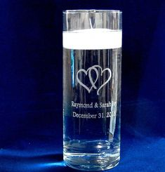 Buy Personalized Glass Unity Candle vase with Floating Candle and double heart art at online store Floating Flower Centerpieces, Candle Wedding Centerpieces, Floating Candles, Mason Jar Candle Holders, Mason Jar Candles, Candle Art, Unity Candle, Large Glass Jars, Vases