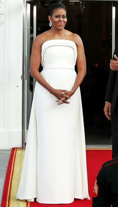 53 of First Lady Michelle Obama's Most Stylish Outfits - white Brandon Maxwell dress