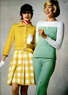 Courreges 1970s. The left look is dreamy. Especially love the gingham skirt!