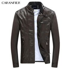 CARANFIER Jackets Coats Motorcycle Leather Jackets Autumn Spring Leather Clothing