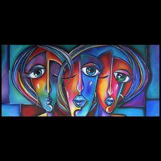 Schilderijen Drie kleurrijke abstracte gezichten Kunst