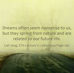 Dreams often seem nonsense to us, but they spring from nature and are related to our future life. ~Carl Jung, ETH Lecture V 23Nov1934 Page 156.