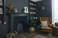 A cosy snug painted in Farrow and Ball Downpipe with mustard vintage chair and alcove shelving Living Room Modern, My Living Room, Living Room Designs, Living Room Furniture, Living Room Decor, Farrow And Ball Living Room, Alcove Shelving, Shelves, Snug Room