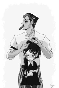 inktober day 1 - Gomez and Wednesday Addams by elegyyap Gomez And Morticia, Morticia Addams, Die Addams Family, Charles Addams, Character Art, Character Design, Art Manga, Family Drawing, Wednesday Addams