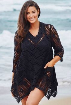 Fabulous Crochet a Little Black Crochet Dress Ideas. Georgeous Crochet a Little Black Crochet Dress Ideas. Cardigans Crochet, Crochet Tunic, Crochet Clothes, Knit Crochet, Crochet Dresses, Irish Crochet, Mode Crochet, Crochet Cover Up, Diy Mode