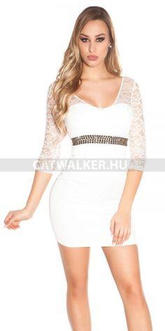 86a5de247f Alkalmi ruha csipkés, köves, kerek háttal - fehér Szemrevaló fehér alkalmi  ruha, csipkés