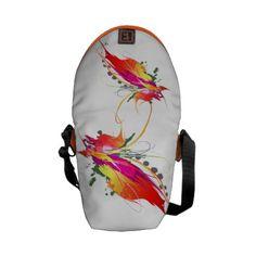 Abstract Bird of Paradise Paint Splatters Messenger Bag