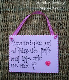 "Sugar & Spice Pretty Pink New Baby Girl Wooden Plaque ""What Are Little Girls Made Of"" Keepsake Nursery Decoration"