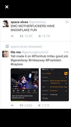 emo motherfuckers have snowflake fun help me why is this a thing and why am i laughing at this Emo Band Memes, Mcr Memes, Music Memes, Emo Bands, Music Bands, Gerard Way, Green Day, My Chemical Romance, Music Stuff