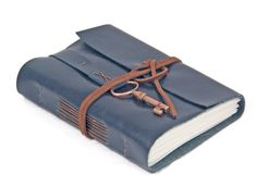 Navy Blue Faux Leather Journal with Key Bookmark - Ready To Ship -
