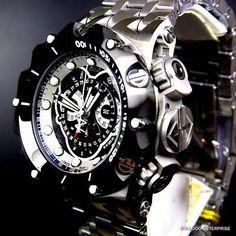Hombres Invicta Reserve Venom Hybrid Master Calendario Acero Negro Reloj Suizo Nuevo