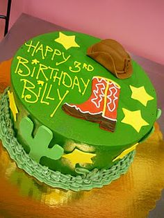 We created this cowboy wild west birthday cake for a little boy's birthday party recently. A cowboy boot, cactus, sheriff stars, and a cowb. Boys Bday Cakes, Cowboy Birthday Cakes, Dad Birthday, Birthday Ideas, Happy Birthday, Birthday Celebration, Birthday Parties, Buttercream Birthday Cake, Cake Writing