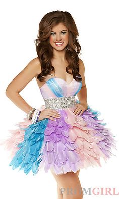 Short Strapless Multi Colored Dress at PromGirl.com