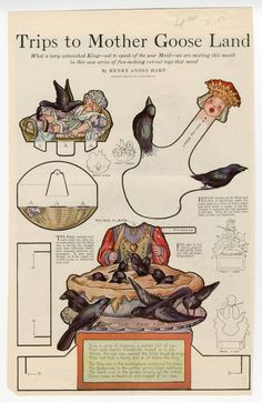 Vintage Mother Goose Paper Dolls 1920 Four and Twenty Blackbirds Baked in a Pie… Paper Puppets, Paper Toys, Vintage Paper Dolls, Vintage Toys, Four And Twenty Blackbirds, Mother Goose And Grimm, Paper Art, Paper Crafts, Toy Theatre
