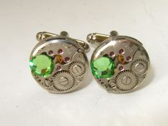 Steampunk watch movements Cufflinks with Apple Green Swarovski crystals Mens Cuff Links Gift for Him Birthday gift Mens gift ideas