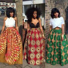 Pretty outfits. VG #DashikiSkirt #ColorMePrint #africanprint